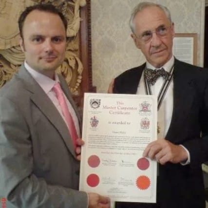Shane-Hales-receiving-his-Master-Carpenter-Sidcup-award
